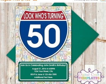SALE Personalized | Printable Invitations Street Signs | US Highways |  Look Who's Turning | Birthday |  #399