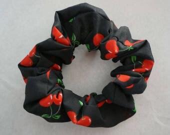 Cherry print rockabilly scrunchie