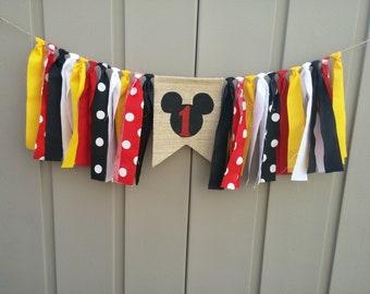 Mickey High Chair Banner, Mickey Mouse Birthday, One Highchair Banner, Mickey Highchair Banner, Mickey Birthday Sign, 1st Birthday Décor