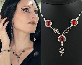 Rose necklace Fantasy necklace Red roses Gothic necklace Romantic goth Victorian necklace Red stone necklace Valentine gift for her