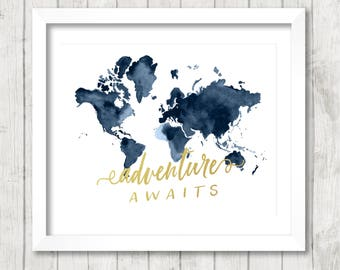 "8x10 ""Adventure Awaits"" + Watercolor World Map Printable and Instant Download"