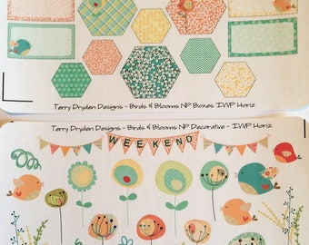 Birds and Blooms Weekly Planner Stickers for Inkwell Press and most horizontal and vertical planners