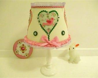 childrens lampshade,shabby chic lampshade,cute lampshade,nursery decor,children's bedroom,girl's room,pink gingham bird,childs lampshade