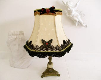 Bespoke hand decorated lampshade shabby chic lampshade burlesque boudoir lamp,victorian,accent lighting,custom made,cinderella lamp,fairies