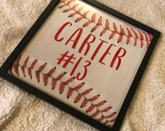 Framed 12x12 Personalized Baseball Cutout sign,Kids Sign,Baby Boy Sign, Baby Girl Sign, Nursery Decor, Sports Sign, Baby Nursery, Kids Room