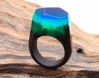 Northern Lights-wooden resin ring.Eco epoxy jewelry.Green Wood-the secret of the magical world in a tiny landscape.