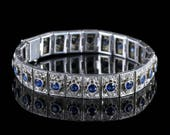 Antique Art Deco Silver Blue White Paste Bracelet Circa 1920