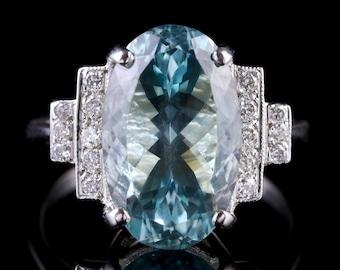 Aquamarine Diamond Engagement Ring 18ct White Gold