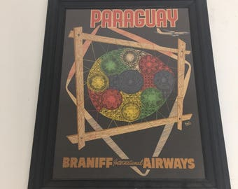 Vintage original framed Braniff International Airways travel poster to Paraquay