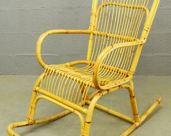 Mid-Century 1960's Bamboo and Rattan Rocking Chair