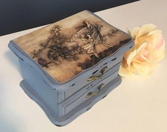Vintage fairy jewelry box -upcycled