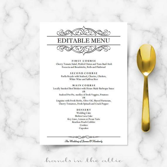 elegant dinner menu
