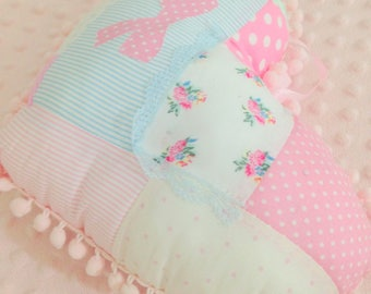 heart pillow patchwork,heart shaped pillow,baby nursery,little girl room,patchwork cushion,pink pom pom trim,fabric scrap pillow