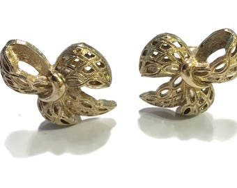 Monet Earrings, Vintage Bow Clip Ons, Gold Tone, Signed Mid Century Jewelry, 1960s-1970s, Ribbon
