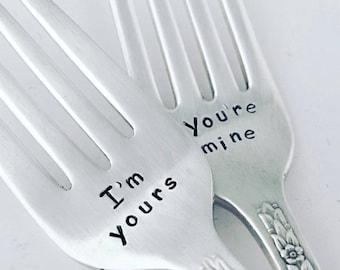 Wedding Forks, set of 2 vintage hand stamped silver forks  I'm Yours, You're Mine