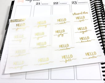 Hello Months/Seasons FOIL | Matte Glossy Clear Foiled Planner Stickers