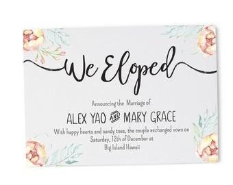 Rustic Wedding Announcements Elopement Announcement Card