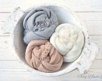 Newborn Wraps OLIVIA / Newborn Wrap And Tieback Set / Stretch Knit Wraps / Neutral Newborn Wraps / Baby Wraps / Newborn Photo Props