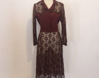 RESERVED Vintage 1930s chocolate brown lace day dress reserved