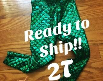 Girls mermaid leggings pants 2T ready to ship!!
