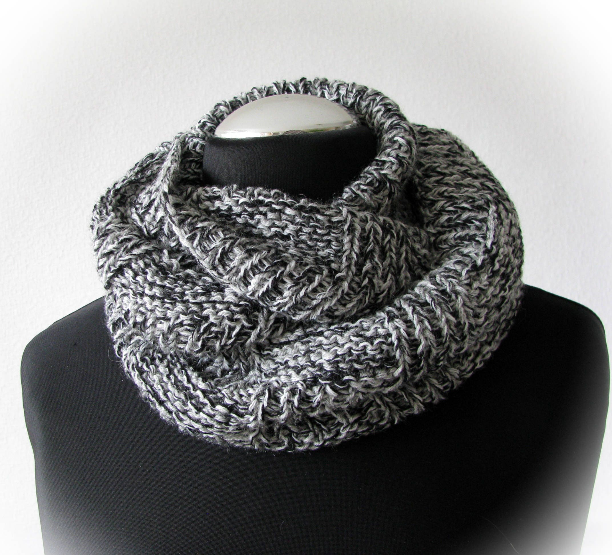 handknit infinity scarf knitted mittens knit circle scarf wool