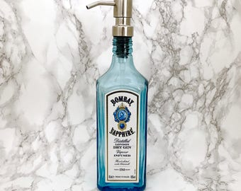 Bombay Sapphire Gin Bottle Soap Pump Dispenser Large (Water Repellent Label) Upcycled Bottle