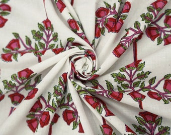"""Ethnic Fabric, Floral Print, White Cotton Fabric, Sewing Crafts Accessories, Quilt Fabric, 45"""" Inch Fabric By The Yard ZBC8599A"""