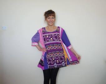 Plus size tunic tops Plus size upcycled clothing for women Plus size bohemian clothing Plus size hippie clothing Boho chic tunic Gypsy dress