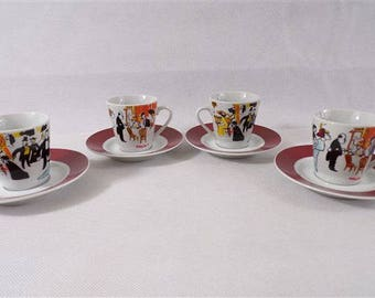 4 cups vintage Maxim's paris champs Elysees restaurant Paris Pierre Cardin vintage France Paris vintagefr art