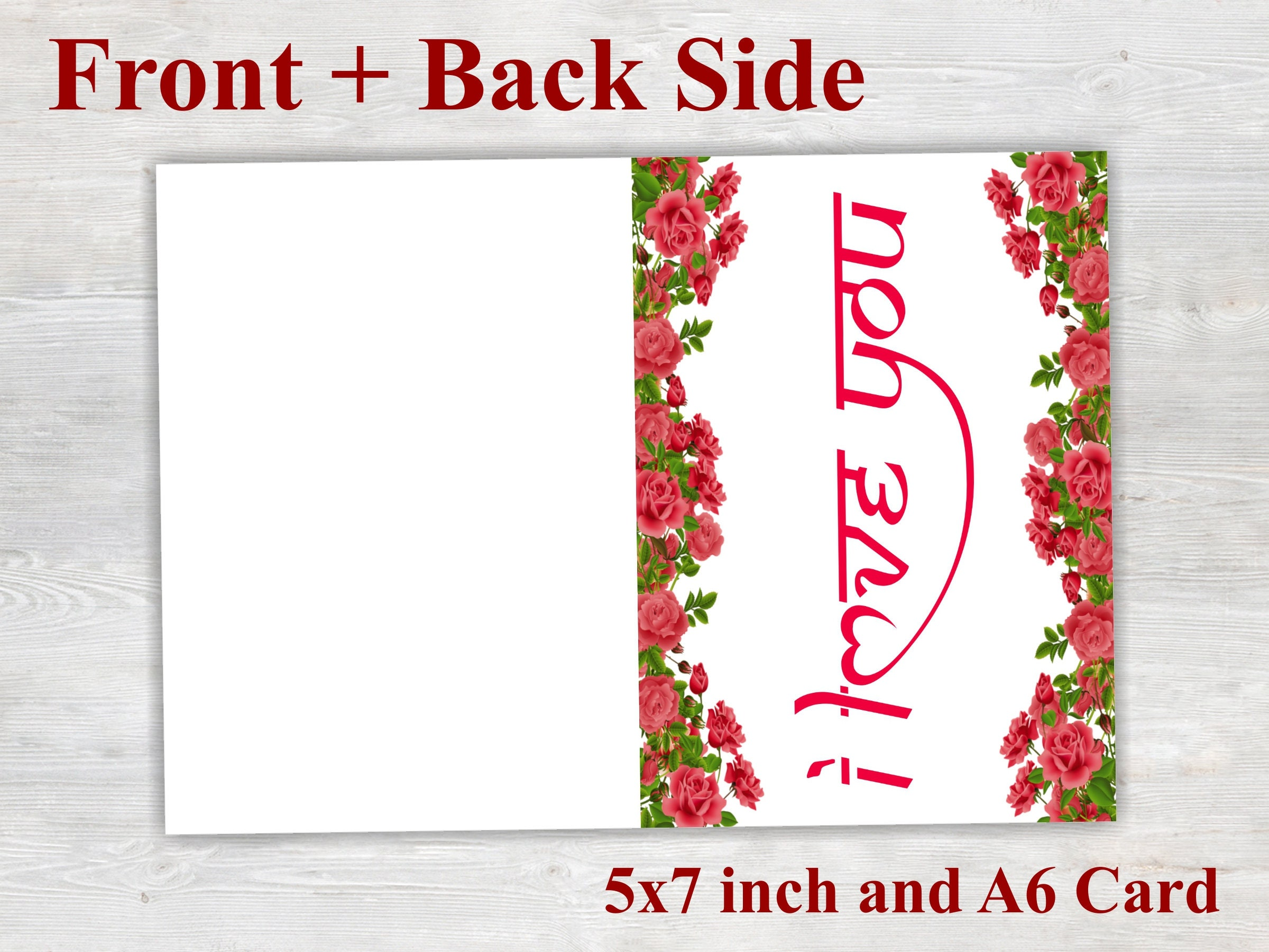 I Love You Card Printable Card Floral Card Love Card Proposal