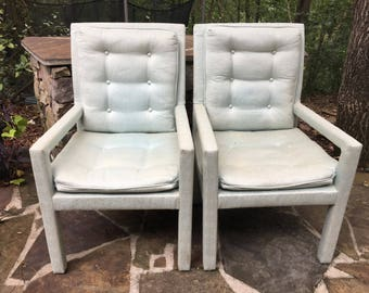 Pair Armed Parsons Chairs.