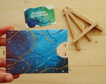 Mini canvas with easel starry night, dream, original, hand-painted 10 x 7 cm, acrylic on canvas