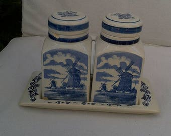 Delfts Blauw Canisters  Set with Tray.