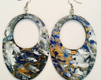 4in Large Lightweight Hand Painted Feather Effect Earrings