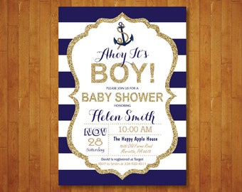 Nautical Baby Shower Invitation. Ahoy Its a Boy Baby Shower Invite. Anchor. Navy Blue and Gold. Gold Glitter Glam Stripes. Printable Digital