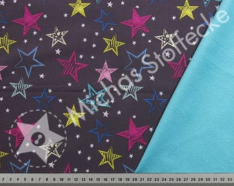 Star Softshell.  Anthracite / turquoise water resistant fabric by the half meter