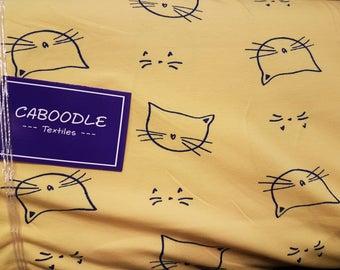 Cats - Yellow , Cotton Lycra Jersey Knit Fabric