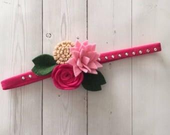 Felt flower headband , flower headband , floral headband , elastic headband , pink headband, felt flowers , felt headband , felt hair access