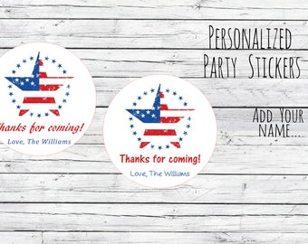 Personalized Happy 4th of July Stripes Star, Flag, Patriotic, Favor Tags, Labels, Party, Summer Red White Blue, BBQ Favour Stickers,