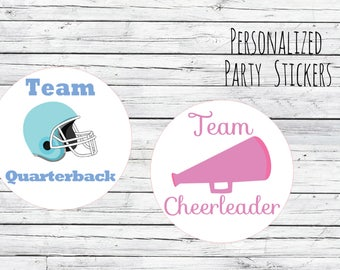 Custom Quarterback or Cheerleader Gender Reveal Party Stickers Team Boy, Team Girl, Baby Shower Voting, Favor Tags, Labels, FootBall Cheer