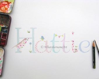 Watercolour Custom Name Painting, Name Art,  Baby Name Art, Personalized Children's Art, Baby Room Art, Nursery Decor, Girl Gift, Baby Gift.