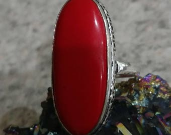 Seaside Red Coral Ring Size 7 1/2