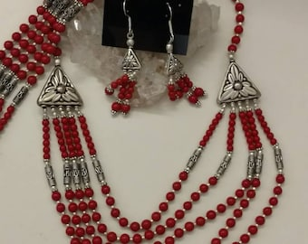 Five Strand Red Coral Necklace, Bracelet and Earring Set