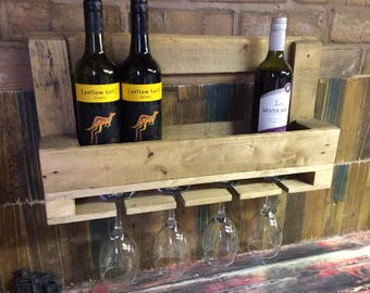 Rustic Pallet Wall Wine Rack & Wine Glass Holder