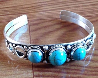Vintage Style Turquoise Three Stone Tibetan/ Nepali Cuff Bracelet