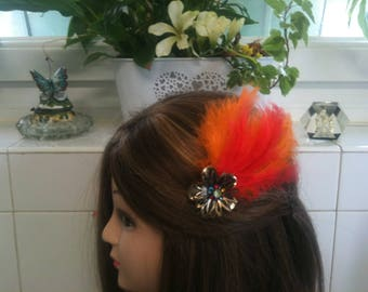 Headband shabby bronze,orange feather,rhinstones/serre tete en chaine,plume orange strass