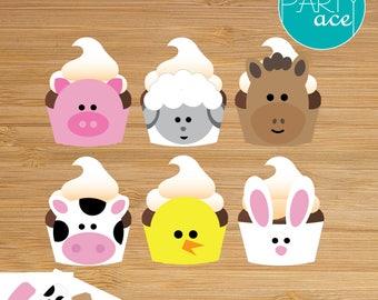 Farm Animals Cupcake Wrappers Printable Happy Birthday Decoration