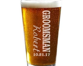 Groomsmen Pint Glass, Personalized Pint Glasses, Engraved Beer Glass, Groomsmen Gift, Best Man Gift