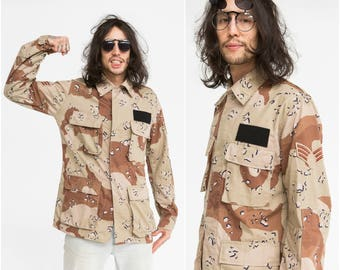Desert Camouflage Military Shirt / US Army / Size M-L