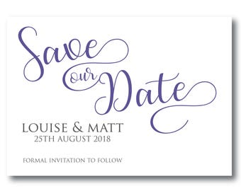 5 Personalised Violet Save The Dates (pantone colour of 2018 ultra violet)